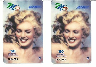 "Marilyn Monroe. '2"" Rare $50 Phone Calling Cards. Only 200 Were Made. 1995."