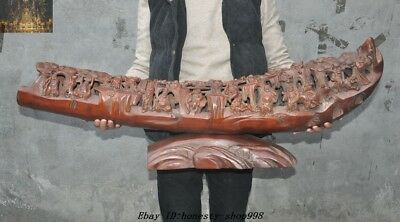 """40""""Rare Unique Old Chinese Bamboo root Carved Eighteen arhats Monk Buddha Statue"""