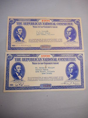 1936 Republican National Committee Participation Certificates, Pair, Chicago