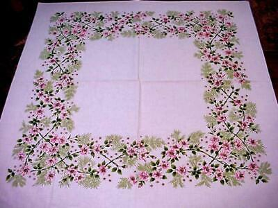 Vintage SPRING FLORAL Tablecloth PINKS Ferns Border Filled With Flowers SWEET