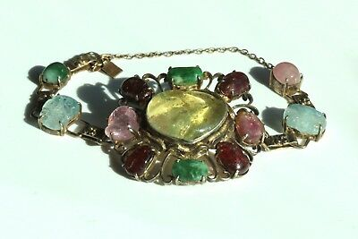 Antique Chinese Large Yellow Pink Blue Tourmaline Jade Sterling Silver Bracelet