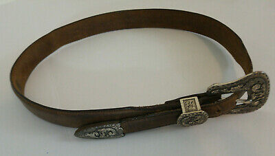 Justin Womens Top Grain Cowhide Leather Belt Size 30 USA 1993 Silver Tone Buckle