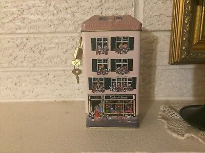 Tin Litho Bank Läckerli Huus Embossed  Bisquit Candy Container  w Lock Germany