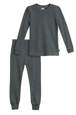 City Threads Boys' Thermal Underwear Long John Set Made in USA 3T Charcoal NWOT