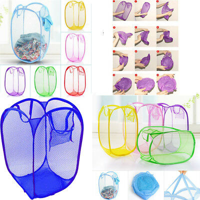 Laundry Basket Pop Up Mesh Bin Tidy Storage Toys Fold-able Cloth Washing Bag