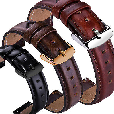 18 20 22mm Genuine Leather Wrist Watch Band Strap For Fossil Q Smart Wristband