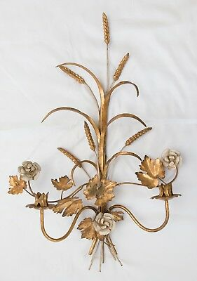 "Large 27"" Vintage Italian Florentine Tole Gilt Wheat Floral Wall Candle Sconce"