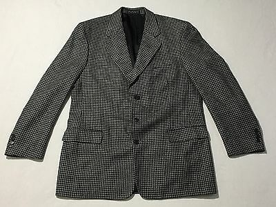 Mens Gianfranco Ruffini Sz L42 Houndstooth Gray Three Button Sport Coat Blazer