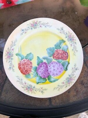 """Florenteen Fantasia Fine China 10 1/2"""" Dinner Plate HAND PAINTED FLOWERS ADDED"""