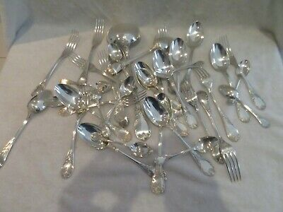 Vintage french silverplate 36p cutlery set Christofle Marly rococo st
