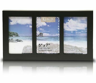 Klikel Three Photo Collage Solid Black Wood Picture Frame - 3 Opening 5 X... NEW