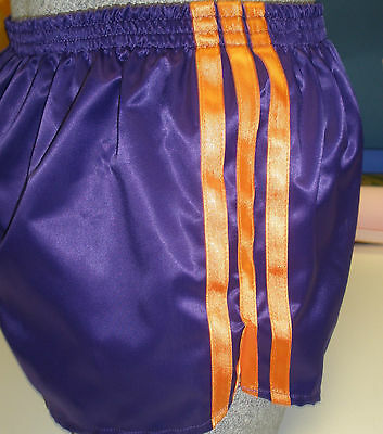 Retro Nylon Satin Fußball SHORTS - 4XL, Lila - Orange