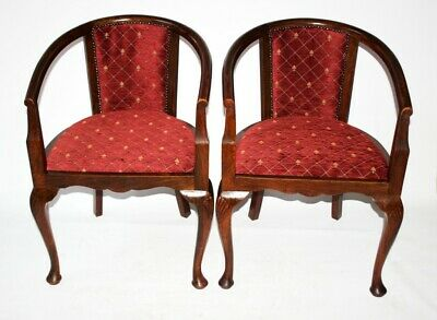 A Pair of Antique Mahogany Tub Chairs - FREE Shipping [PL5060]