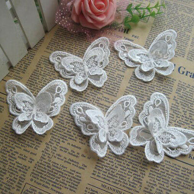 10x 3D Butterfly Embroidered Patch Set Sew on Embroidery Applique Dress Super