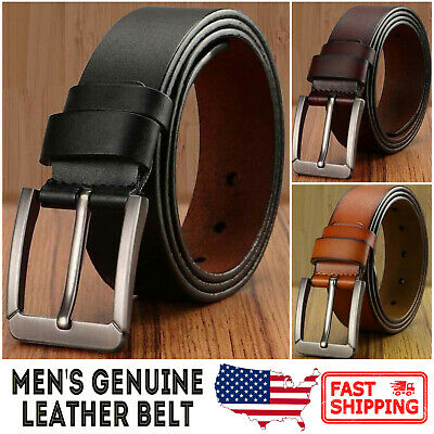 Men's Genuine Leather Classic Metal Buckle Handcrafted Needlepoint Jean Belt