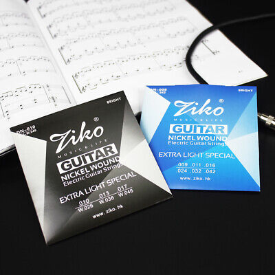 ZIKO DN Series Electric Guitar Strings Extra Light 009 and 010 Nickel Wound UK