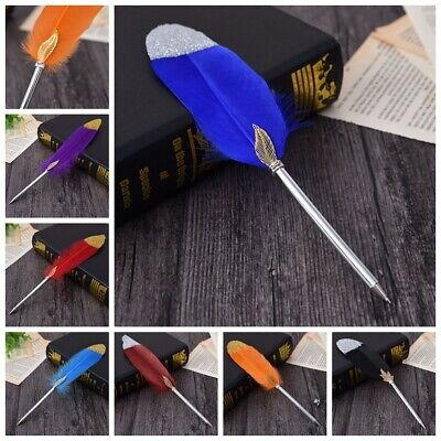 Feather Pen Wedding Reception Quill Signing Gold Powder Multicolour Guest Book
