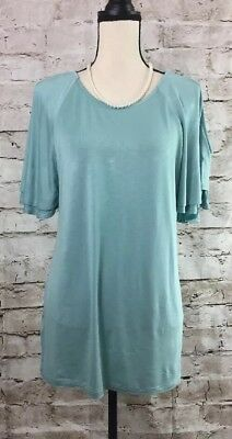 a2d078cefe9 Long Tall Sally Layered Cold Shoulder Blouse Size Small Color Dark Aqua
