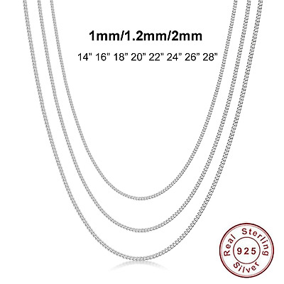 """925 SOLID Sterling Silver Necklace 1mm 1.2mm 2mm Italian CURB Chain 16"""" - 28"""""""