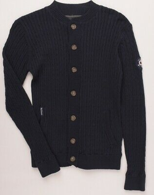 BEN SHERMAN Boys' Kids' Navy Blue Cable Knit Cardigan, size 12-13 years