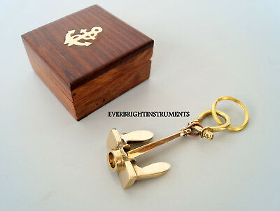 Nautical Brass Anchor Key Ring Maritime Key Chain Golden Finish With Wooden Box