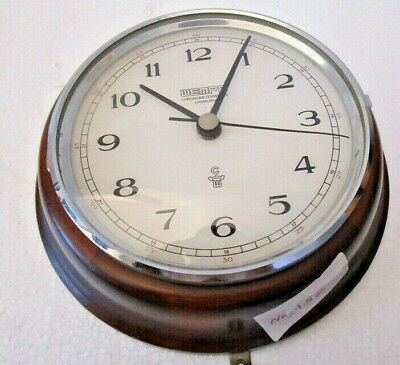WEMPE Marine WALL Clock  - WOODEN & BRASS - Made in GERMANY (152)