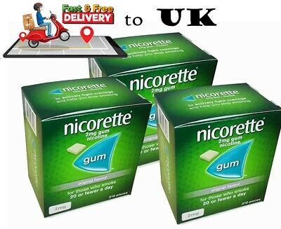 Nicorette Chewing Gum Original 2mg  Expiry November-2021  Quantity 210 x 3 Boxes