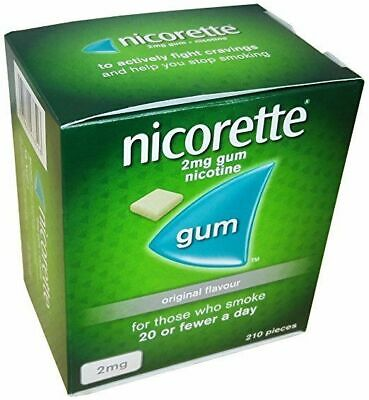 Nicorette Chewing Gum Original 2mg of 210 (Multiple Money Saving Packs) 08/2021