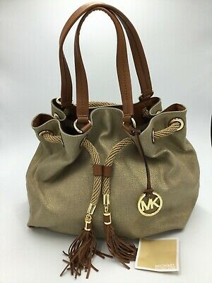 9176ec7ed953 MICHAEL KORS Large Metallic Tan Gathered Drawstring Tote Jute Canvas  Leather NWT