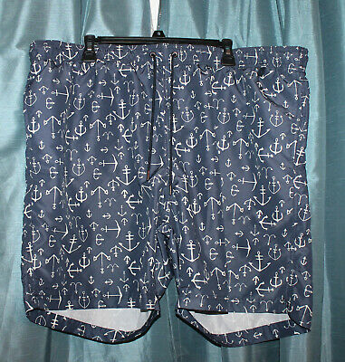 3a8bec670b LANDS END MENS Blue with White Anchors Swim Trunks XXL 44-46 - $6.99 ...
