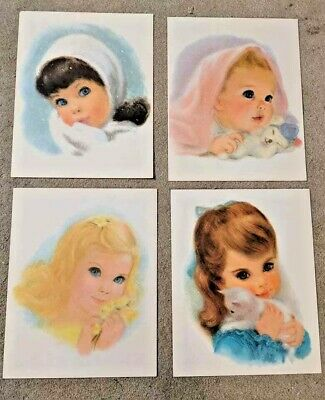 Set of 4 Vintage Beautiful Baby/Little Girl/Kitten Prints--Must See!