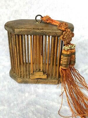 Superb Chinese Wooden Cricket Cage and Attachments Tassle