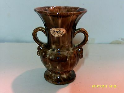 Mid Century Jasba Keramik Pottery Germany 537/12 Brown & White Marlelized Vase