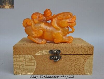 Old Chinese Fengshui Natural Tianhuang Shoushan Stone Carved Pixiu Beast Statue