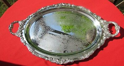 """NICE!!  Baroque Pattern Large 23 1/2"""" Oval Waiters Tray By Wallace Silver Plate"""