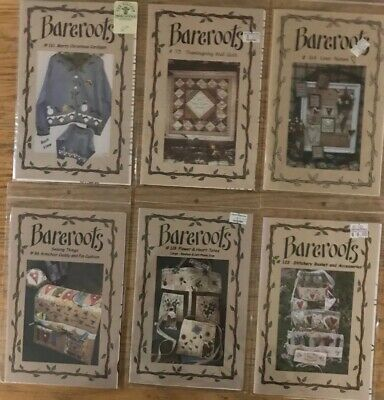 Bareroots Hand Embroidery and Sewing 6 Pattern Lot