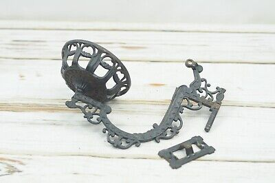 Vintage/Antique Ornate Cast Iron Oil Kerosene Lamp Holder W/ Wall Swing Arm