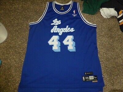 03ebcd3e5da SEWN Jerry West Reebok Hardwood Classic Blue Los Angeles Lakers Jersey Sz  3XL
