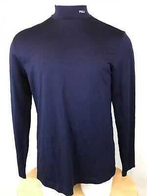 c836bb54 Vintage Polo Golf Ralph Lauren Mens mock neck L/S Large Stretch Navy Blue (