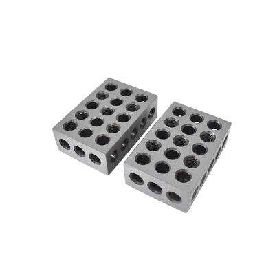 "123 BLOCKS 1-2-3 ULTRA PRECISION .0002 HARDENED 23 HOLES 0.0002"" New 2 PCS"