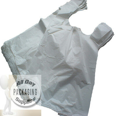 "100 White Polythene Vest Carrier Shopping Bags Size 11 X 17 X 21"" Plastic"