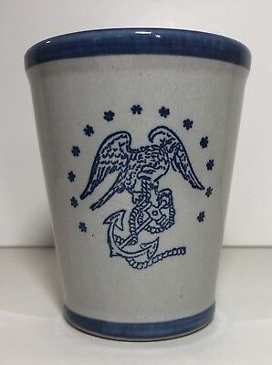 Vintage Louisville Stoneware Pottery Cup Marine Corps Military USA Hand Painted
