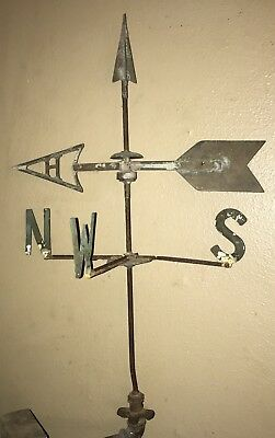 RARE ANTIQUE WEATHER VANE WITH DIRECTIONAL SPINNER ARROW & TOPPER ! Wow ! SCARCE