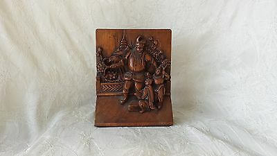 Antique Chinese Carved Wood Engraved Brass Bookend Early 1900's
