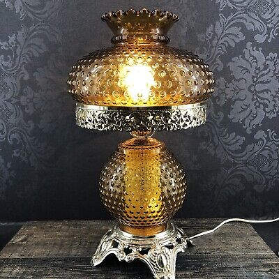 """Antique 20"""" Amber Hobnail Glass Hurricane Table Lamp Vintage Gone With Wind"""