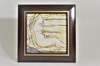 Vintage Nude Women Acrylic Painting Framed Signed Jacquelyn Cerf