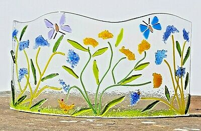 Fused Glass Art Picture, Flower Meadow, Freestanding