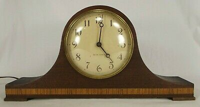 ANTIQUE MANTEL CLOCK wood electric SETH THOMAS WORKS inlay