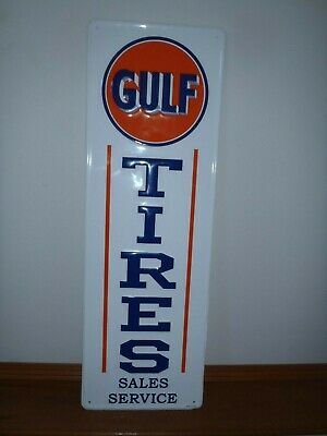 GULF TIRES SALE Service Metal Sign New,embossed Letters,shop,garage Sign