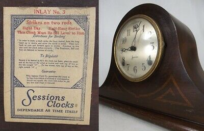 ANTIQUE MANTEL CLOCK wood 8-day chime INLAY NO. 3 all original SESSIONS